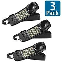 (3 Pack Value Bundle) ATT210B 210 Trimline Telephone, Black