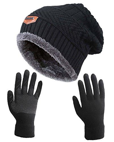 HINDAWI Winter Slouchy Beanie Gloves for Women Knit Warm Hats Skull Caps Touch Screen Mittens Black (Best Thin Winter Gloves)