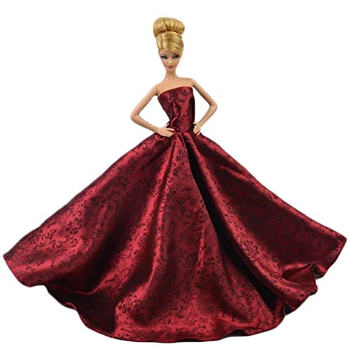 - Lanlan 1 PCS Red Chinese Style Gorgeous Classic Strapless Wedding Gown Party Dress for Barbie Doll Clothes Shoes Doll House Accessories Kids Gift