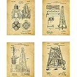 Oil Rig Patent Wall Art Prints - set of Four (8x10) Unframed - wall art decor