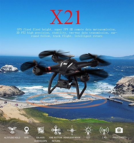 Bayang X21 6 RC FPV Quadcopter Drone with 1080P HD Camera, 3D PTZ RC Helicopter Double GPS, Follow Me, Fixed Height & Lost Contact Return (Black) by Dirance