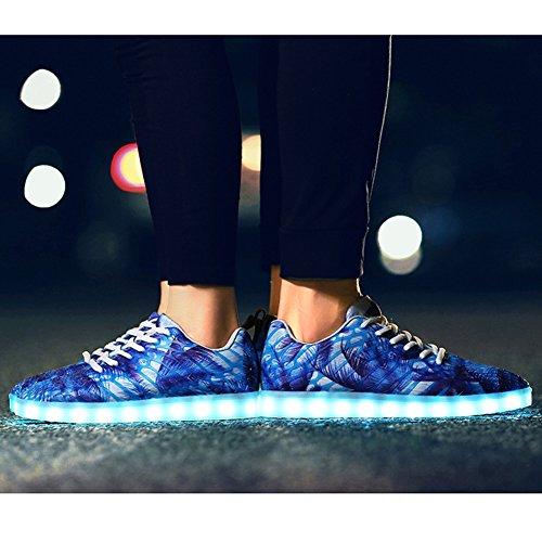 de 7 Lumineux Chaussures Baskets Mixte LED PADGENE USB Couleurs Femme Sneakers Charge Adulte Amant Camouflage Homme Sport 75wdO