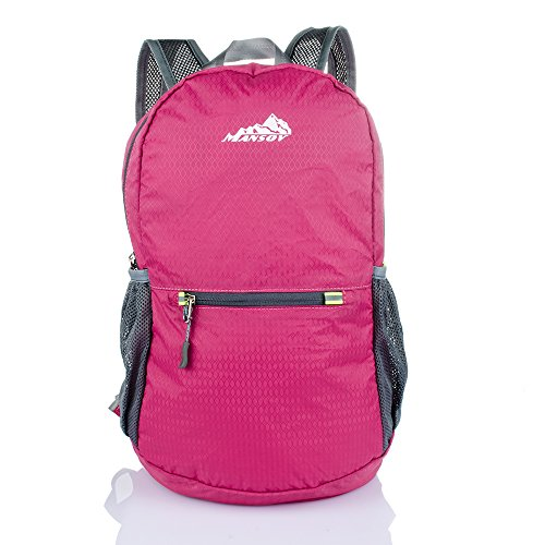 20L Travel Backpack Water Resistant Hiking Bag, Perfect for Outdoor Sports Climbing Camping Hiking Mountain, Dark Pink