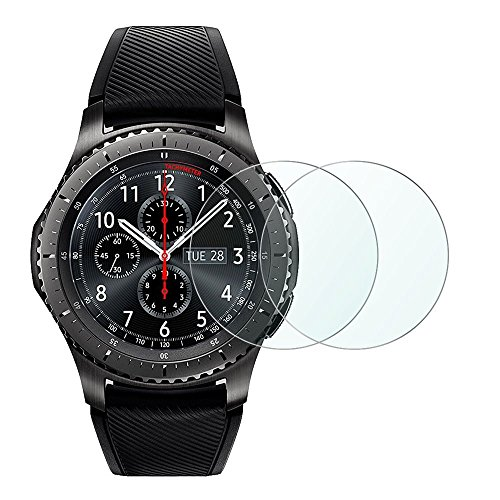 Gear S3 Screen Protector, Wimaha 2 Pack Tempered Glass Screen Protector for Samsung Gear S3 Frontier and Gear S3 Classic Ultra Clear Scratch Proof (Samsung Mini S3 Screen Protector)