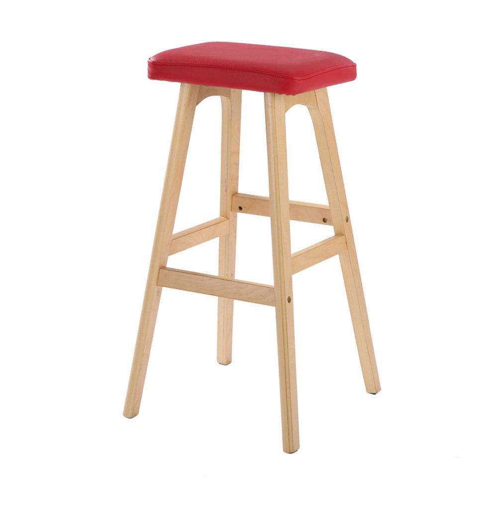 椅子、ソリッドウッドバースツールバーチェアヨーロピアンスタイルバースツールレザーレザーフロントスツール幅41×奥行き42×高さ79cm ( 色 : 木の色 ) B076XS63TK 木の色 木の色