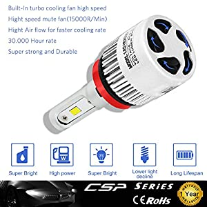 H11 H8 H9 H11LL H8LL LED Headlight Bulbs Bright CSP Chipset With 8000Lm 6500K Xenon White for Replacing Halogen Headlamp All-in-One Conversion Kits Nasibo