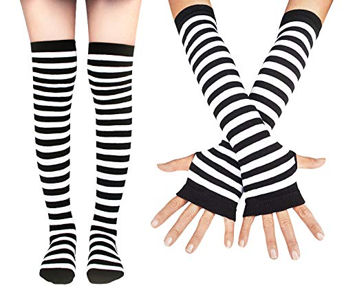 ch Striped Socks Knee High Stockings Long Arm Warmer Fingerless Mitten Gloves,Glove Sock Set_White ()