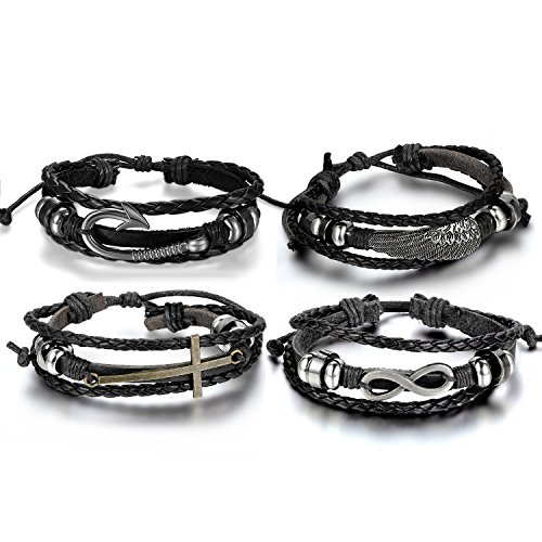 Aroncent Infinity Bracelet Leather Wristband Cross Wing Fish Hook Black 4 PCS 8.5-10.5 (Fish Hook Cross)