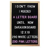 Letter board 12x18 Changeable Black Felt Letter Board Oak Wood Frame 580 White & Pink Letters 2 Drawstring Canvas Pouches by Dakason