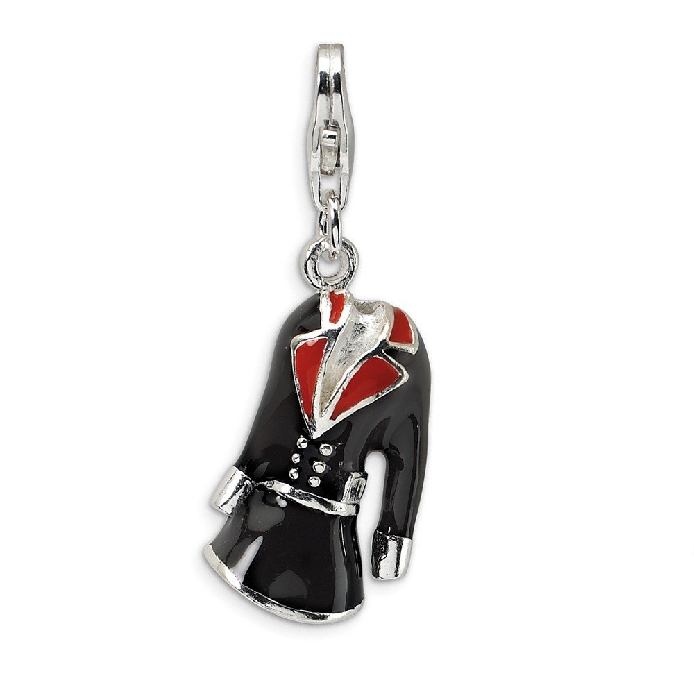 Sterling Silver Rhodium Plated 3-D Black & Red Enameled Coat with Lobster Clasp Charm (1.2IN long x 0.4IN wide)