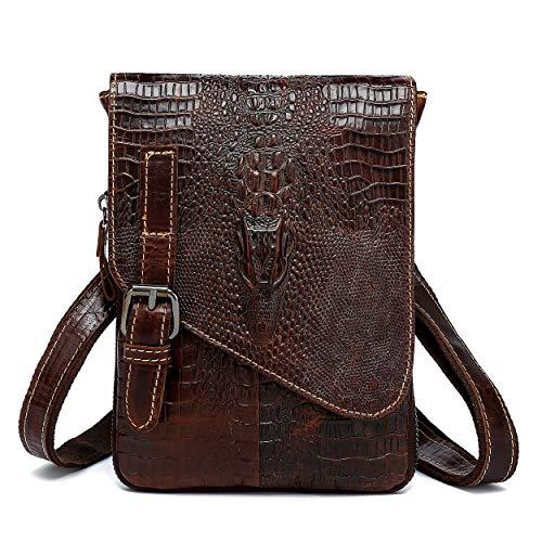 Genuine Leather Mini Messenger Bag Crocodile Embossed Small Crossbody Bag Shoulder Sling Bag Brown