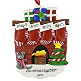 Fireplace with Stockings to Personalize Christmas Ornament (Family of 4) - Calliope Designs - Free Customization with Names on Stockings, the Year, a Phrase - 4.5'' tall