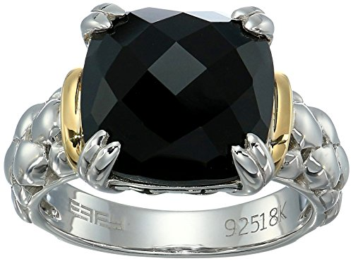 Onyx Gold Ring Yellow - Effy Womens 925 Sterling Silver/18K Yellow Gold Onyx Ring, Black, 7