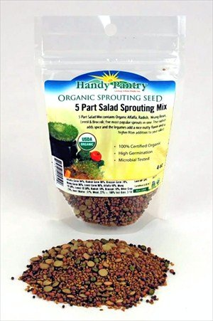 5 Part Salad Sprout Seed Mix -1/4 Lbs (4 Oz) - Handy Pantry Brand - Organic Sprouting Seeds: Radish, Broccoli, Alfalfa, Green Lentil & Mung Bean - For Sprouts