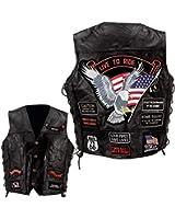 Diamond Plate Rock Design Genuine Buffalo Leather Eagle Biker Vest