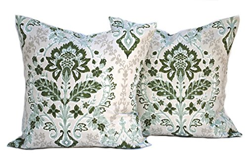 (Two Floral pillow covers, Home decor, decorative pillow, throw pillow, Green pillow, Sage Pillow, hunters green pillow, Geometric Pillow)