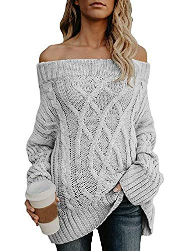 Strapless Sweater (Women's Sexy Strapless Off The Shoulder Loose Cable Knit Sweater Pullover Tops Grey Medium)