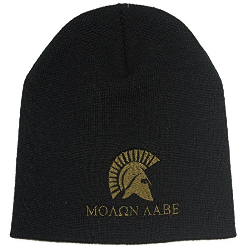 Bang Bang Apparel Men's 'Molon Labe' Embroidered Beanie (One Size, Black with Green ()
