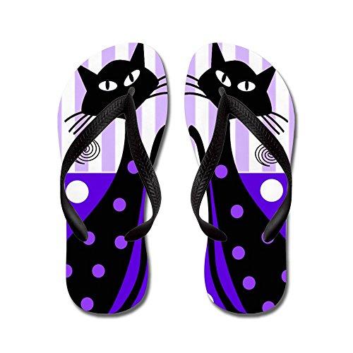 Cafepress Whimsical Black Cats - Infradito, Divertenti Sandali Infradito, Sandali Da Spiaggia Neri