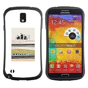 """Hypernova Slim Fit Dual Barniz Protector Caso Case Funda Para Samsung Note 3 [Significado del arte abstracto moderno de la ciudad de Campo""""]"""