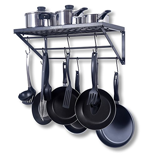 Zesproka kitchen wall pot pan rack with 10 hooks black for Kitchen s hooks for pots and pans