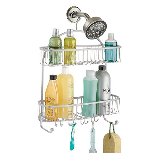 mDesign Extra Wide Bathroom Shower Caddy Shampoo, Conditioner, Soap - Silver by mDesign