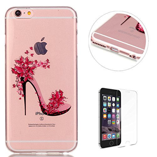 (iPhone 6 Plus/6S Plus Silicone Gel Case [with Free Screen Protector],KaseHom Pink Butterfly Girls High Heel Unique Design Crystal Clear Ultra Slim Soft Durable Rubber Skin TPU Protective Case Cover)