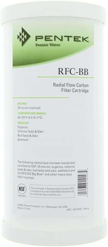 Pentek 155141, RFC-BB Radial-Flow Granular Activated Carbon Cartridge, 25 Micron