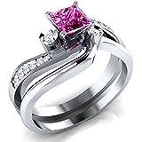 Women Fashion Jewelry 925 Silver Princess Cut Ruby Women Wedding Ring Size 6-10 (10)