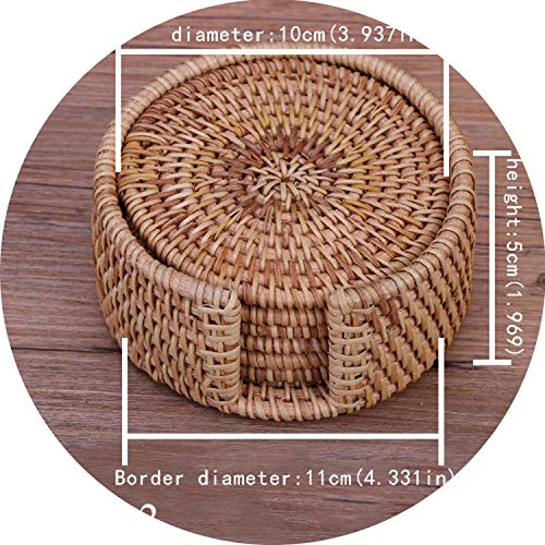 6pcs/lot Creative drink Coasters set for kungfu tea accessories round tableware Placemat Dish mat Rattan Weave cup mat pad,Round10cmSet (Placemats Tj Maxx)