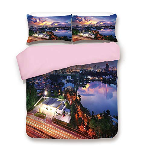 Pink Duvet Cover Set,Queen Size,Vibrant Kuala Lumpur Skyline At Sunset Malaysia Landmark Dramatic Dusk Evening Clouds,Decorative 3 Piece Bedding Set with 2 Pillow Sham,Best Gift For Girls Women,Multic