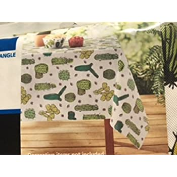 Mainstays Summer Cactus Vinyl Tablecloth 60 In X 102 In