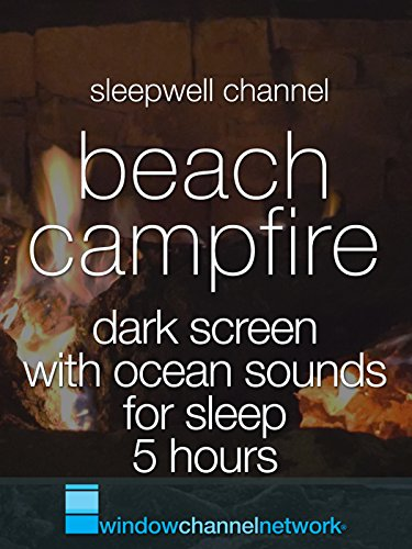 Sleep Screen - Beach Campfire Dark Screen with Ocean Sounds for sleep 5 hours