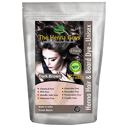 3 Packs of Dark Brown Henna Hair and Beard Color/Dye - 150 Grams - Chemicals Free Hair Color - The Henna Guys