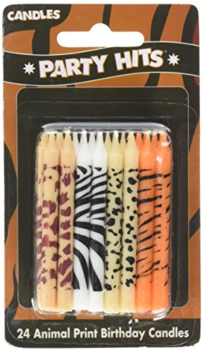 African Zoo - 24 pc Safari Wild Animal Print Birthday Cake Candles