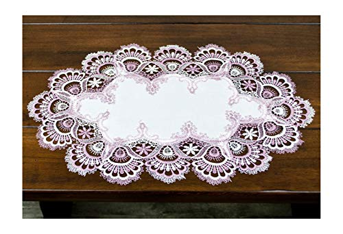 Linens, Art and Things White Mauve Rose Jacquard Lace Place Mat Doily Dresser Scarf Table Runner Pink 14 Inches x 21 Inches