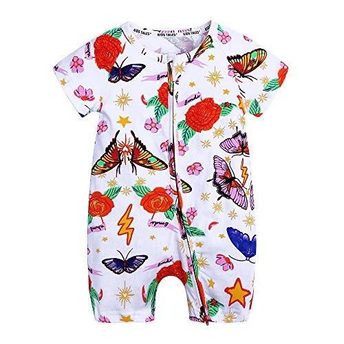- Kids Tales Baby Girls Short Sleeve Cotton Pajamas Infant Rainbow Zipper Romper