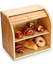 """G.a HOMEFAVOR Bamboo Bread Box, 2 Layer Bread Bin for Kitchen, Large Capacity Wooden Bread Storage Holder, Countertop Bread Keeper, 15"""" x 9.8"""" x 14.2"""", Self Assembly"""