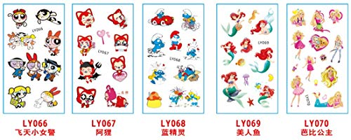 5 Sheets Cartoon Kids Temporary Tattoos Body Sticker - for Boys Girls - Waterproof Colorful Tattoos | Smurfs | Princess | Barbie | Removable, NONTOXIC (66-70) -