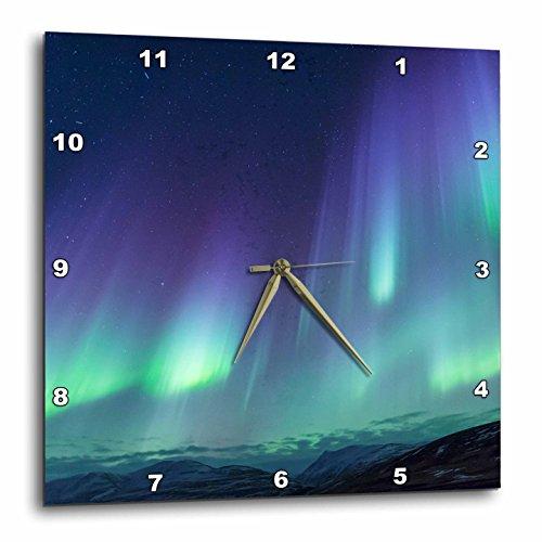 3dRose Danita Delimont - Northern lights - Europe, North Iceland, Akureyri. Northern Light ribbons across the sky - 10x10 Wall Clock (dpp_277511_1)