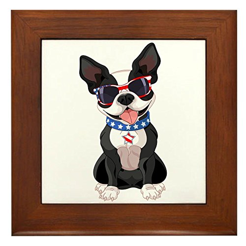 Framed Tile Dog Lover Celebrating Boston Terrier -