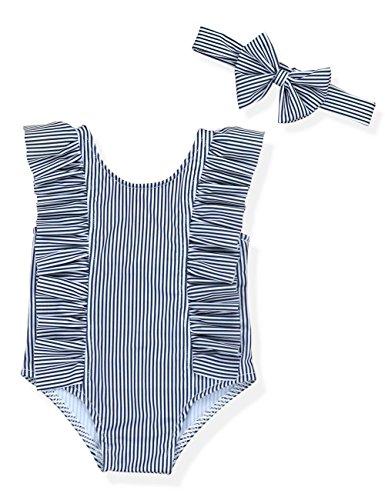 Baby Girl Bikini Striped Beach Swimsuit Ruffles Bathing Suit Swimwear+Headband 2 Pcs Set(80/3-6 Months) Black