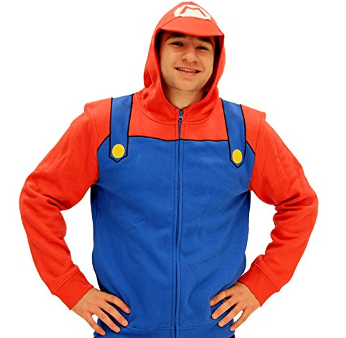 [Nintendo Mario Adult Costume Zip Up Hoodie (Adult X-Small)] (Nintendo Costumes For Adults)