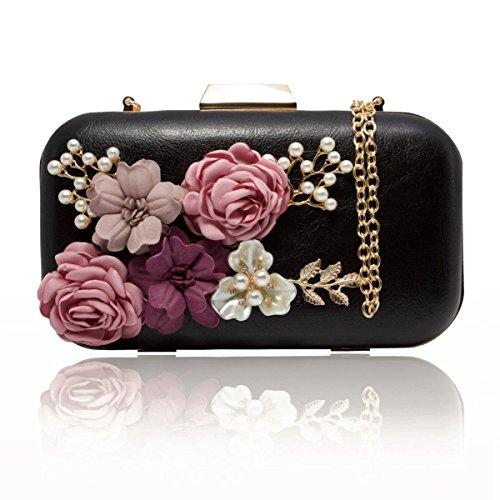 SODIAL Bolsa monedero clutch de mujer Cartera de perlas de sobre de cuero de flor Bolso de noche (Negro)