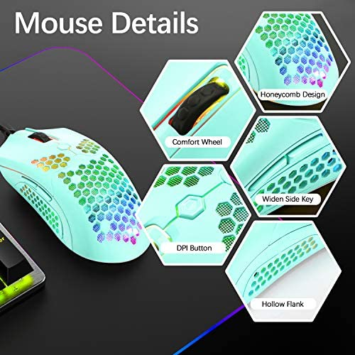 Gaming Keyboard and Mouse,3 in 1 Gaming Set,Blue LED Backlit Wired Gaming Keyboard,RGB Backlit 12000 DPI Lightweight Gaming Mouse with Honeycomb Shell,Large Mouse Pad for PC Game(Macaron Green) 51Wtmvi8zCL