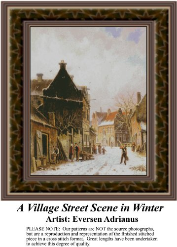 (A Village Street Scene in Winter, Fine Art Counted Cross Stitch Pattern (Pattern Only, You Provide the Floss and Fabric))
