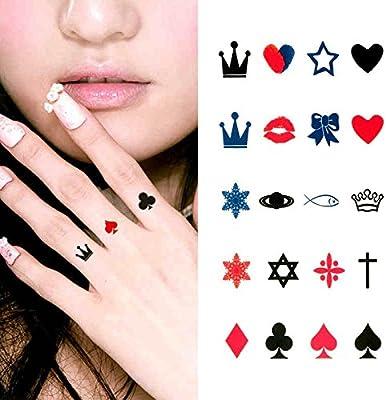 Oottati Tatuajes Temporales Dedo Corona Imperial Picas Corazones ...