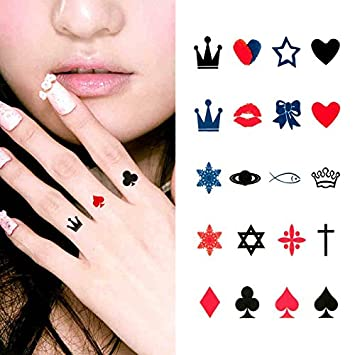 Amazon Com Oottati Small Cute Temporary Tattoo Finger Crown Spades