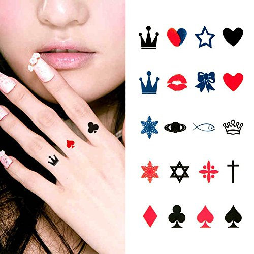 Oottati Small Cute Temporary Tattoo Finger Crown Spades Red Hearts (Set of 2) -