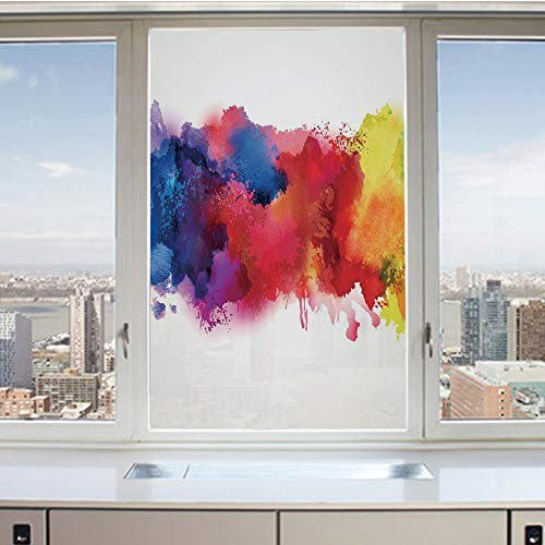(3D Decorative Privacy Window Films,Vibrant Stains of Watercolor Paint Splatters Brushstrokes Dripping Liquid Art Decorative,No-Glue Self Static Cling Glass film for Home Bedroom Bathroom Kitchen Offic)